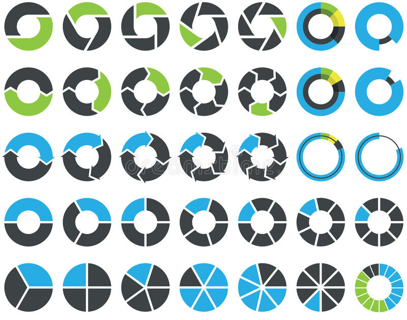 Pie charts and circular graph - infographic. Pie charts and circular graph infographic kit