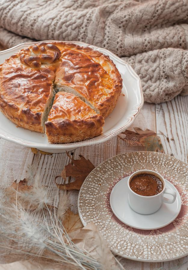 Pie and coffee stock photos