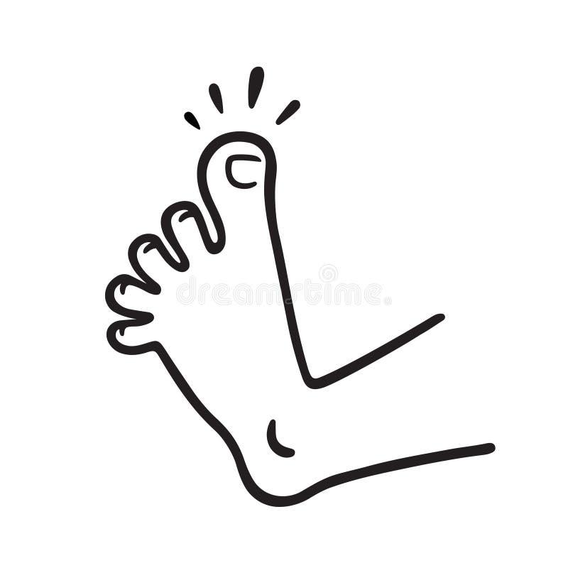 Pie con dolor del dedo del pie ilustración del vector