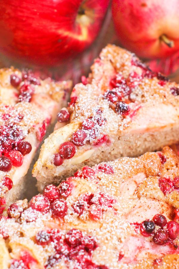 Pie with cranberries and apples. For yummy teatime and good mood stock photography