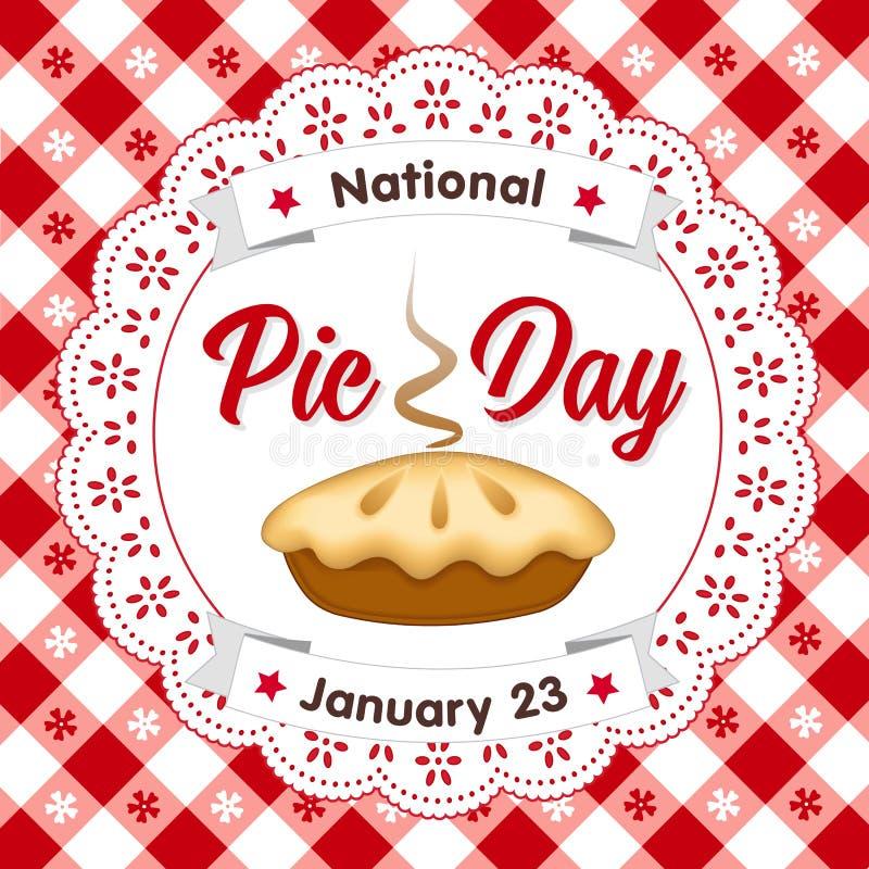 Pie Day, 23. Januar, Lace Doily, Hintergrund der Tabletten stock abbildung