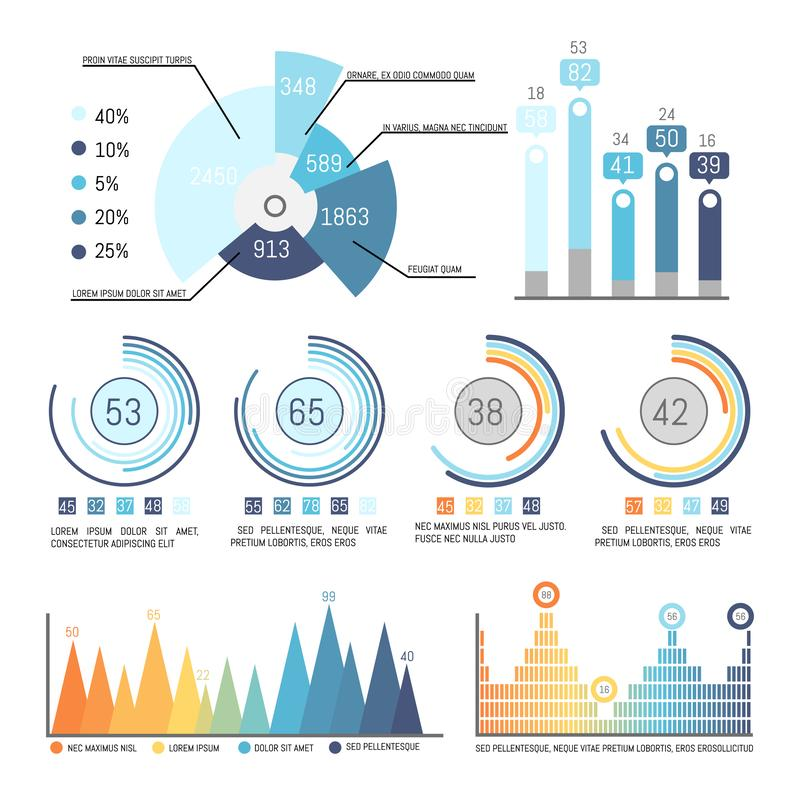 Pie Diagram with Parts and Percent Statistics Data. Pie diagram with parts and present statistical data vector. Infographics and infocharts with numeric info stock illustration