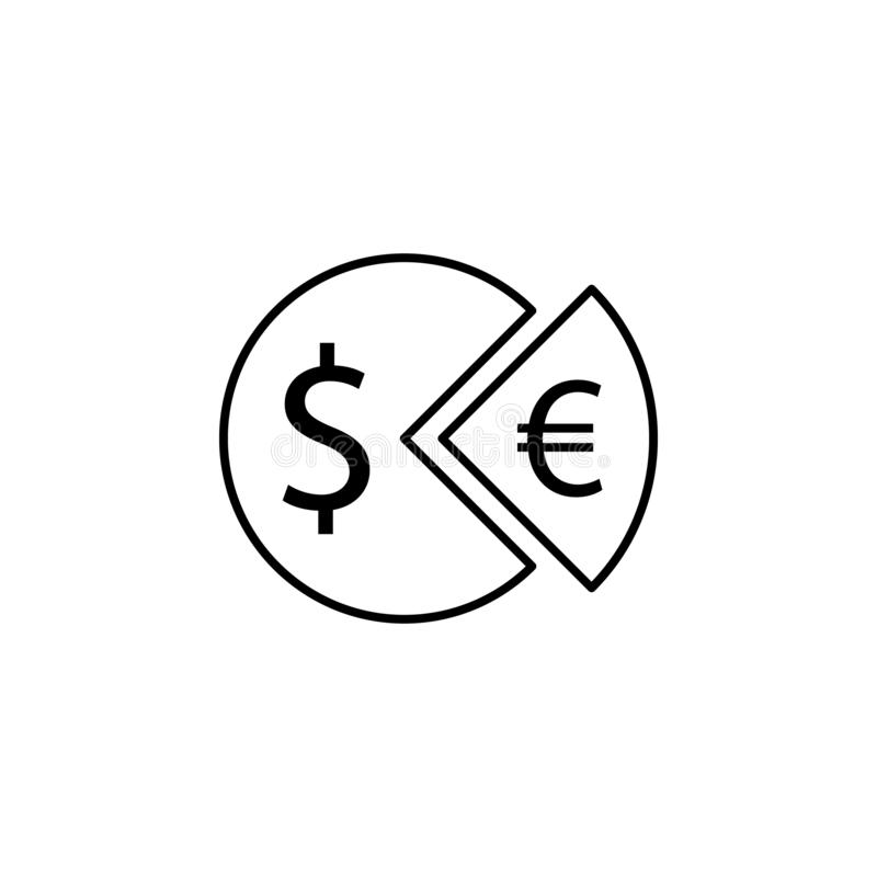 Pie, dollar, euro icon. Element of finance illustration. Signs and symbols icon can be used for web, logo, mobile app, UI, UX stock illustration