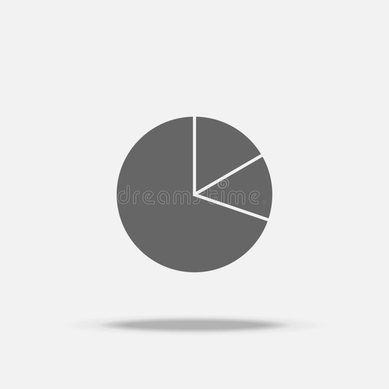 Pie graph chart Flat design vector icon with shadow stock illustration