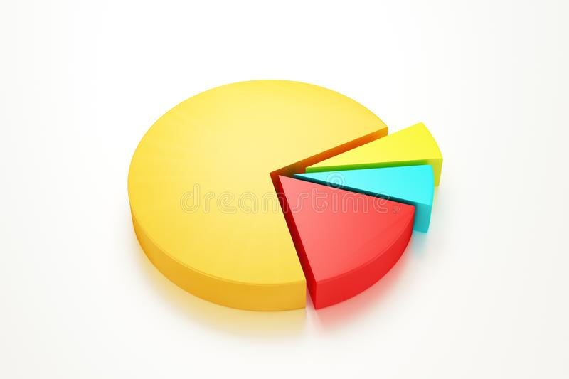 Pie Graph diagram 3D render. on isolated background - Illustration royalty free stock images