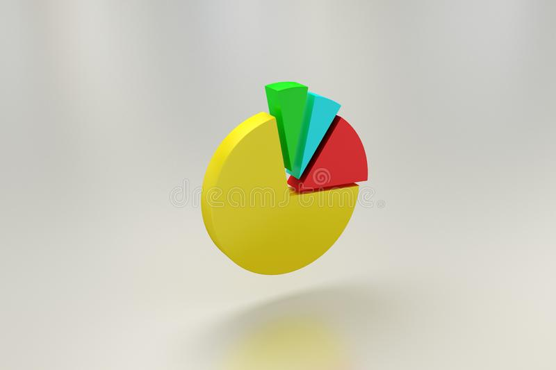 Pie Graph diagram vertical 3D render. on isolated background. communication stock illustration
