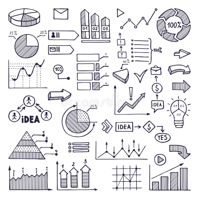 Pie graph, graphics and charts. Business illustrations in hand drawn style vector illustration