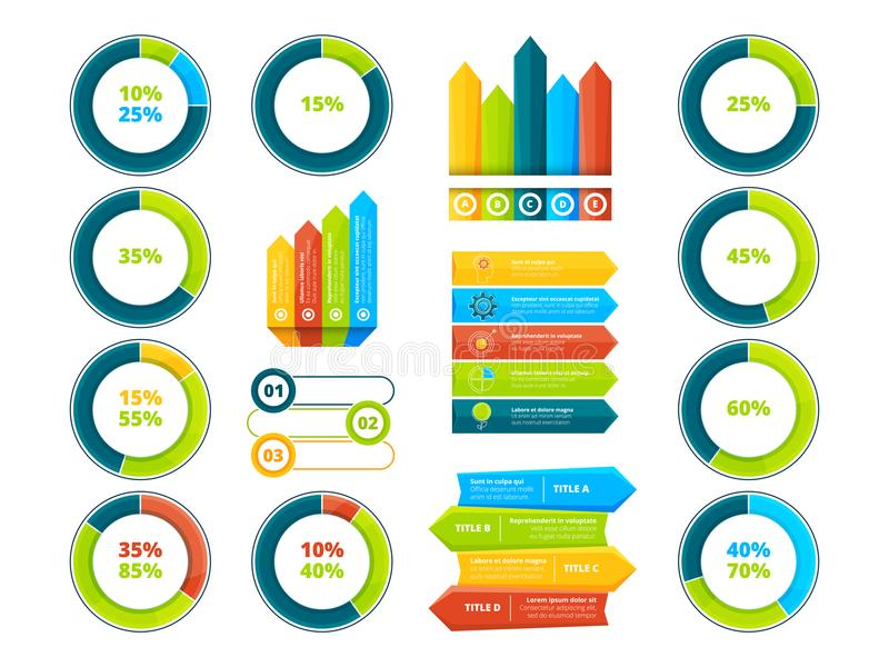 Pie graphs, vertical and horizontal arrows. Infographic elements. Chart and graph, arrow diagram and step graphic, vector illustration vector illustration