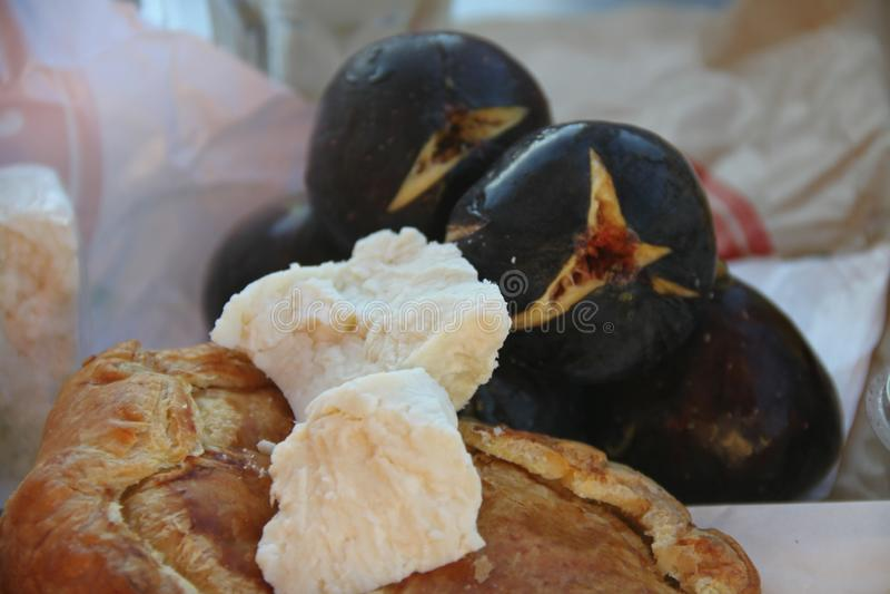 Greek pie and fresh figs stock photo