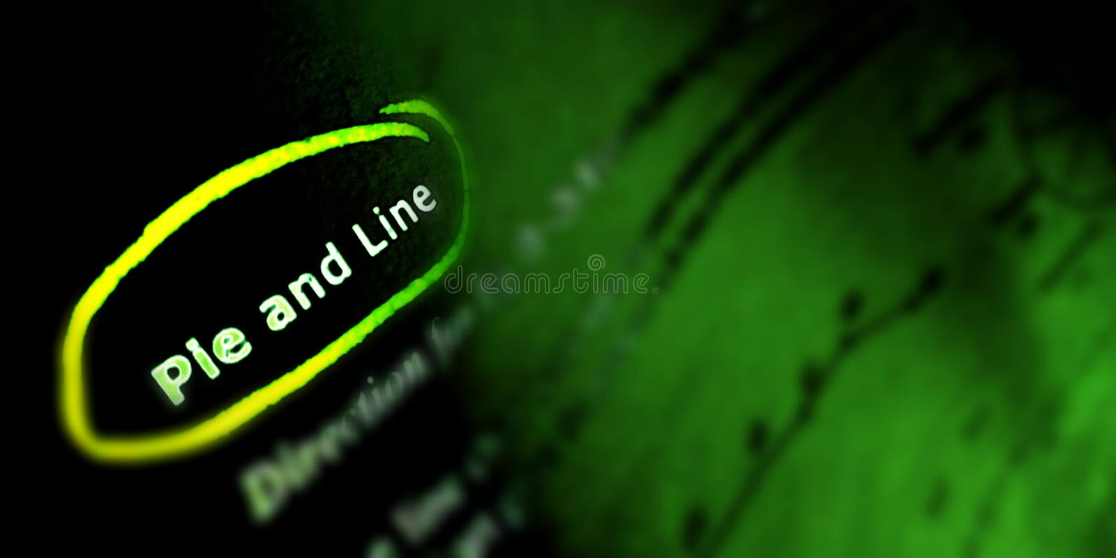 Pie and line text written in english language in green background stock photos