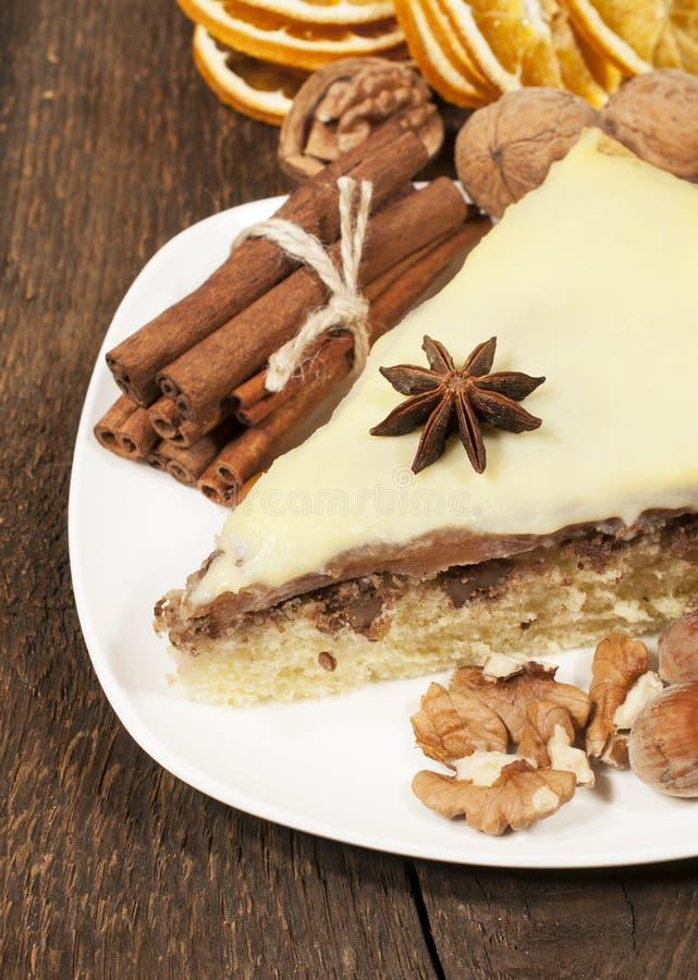 Pie med tokigt och kanelbrunt royaltyfri bild