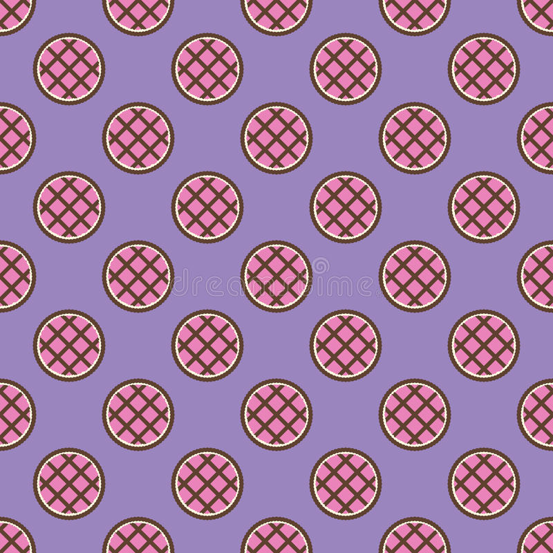 Pie pattern. Seamless vector flat food background. Rosy-brown pies on violet backdrop stock illustration