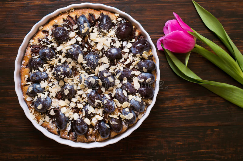 Pie with plums royalty free stock image