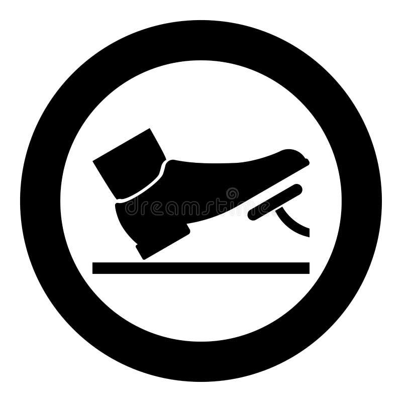 Pie que empuja el ejemplo de color auto del negro del icono del concepto del servicio del pedal de freno del acelerador del pedal libre illustration