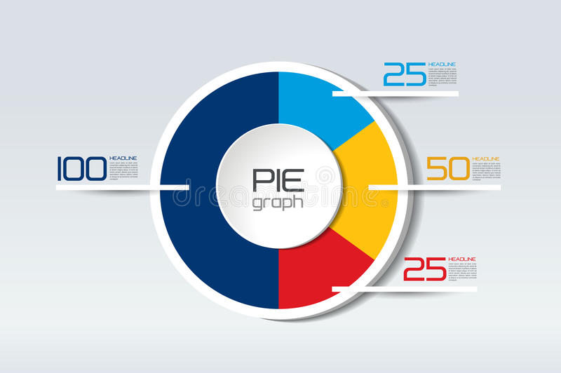 Pie round, circle graph, chart. Simply color editable. royalty free illustration