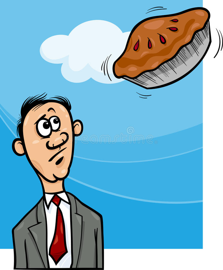 Pie in the sky saying cartoon stock illustration