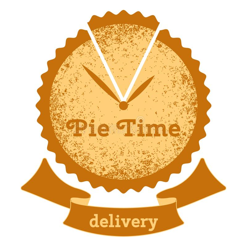Pie time. Logo for the bakery. Cake - a symbol clock with hands. Text Ribbon vector illustration