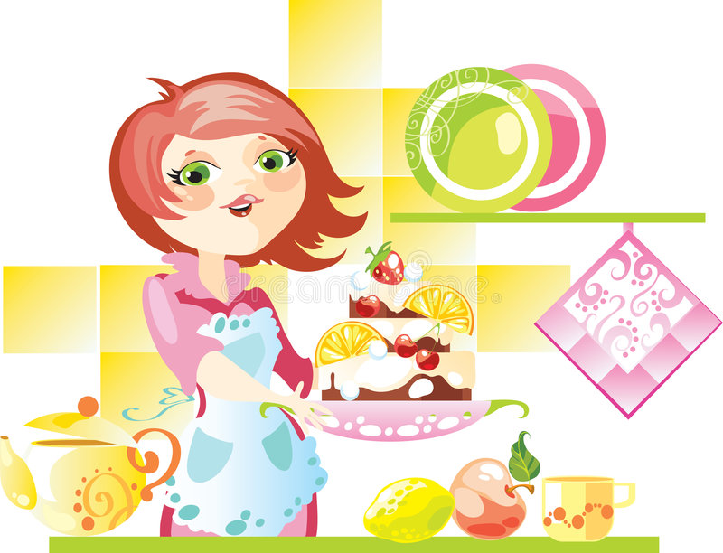 Download Pie to tea stock vector. Image of fruit, kitchen, cheerful - 7508507