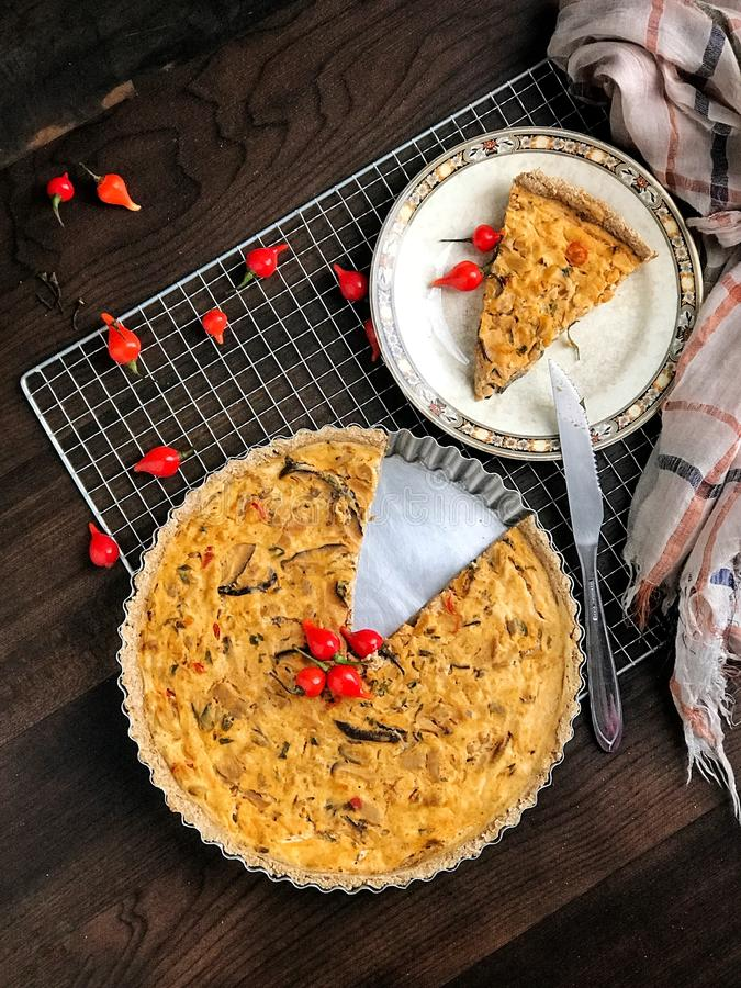 Pie on wood table royalty free stock photo