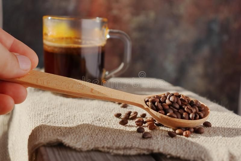 Piec adra naturalna fragrant kawa fotografia stock