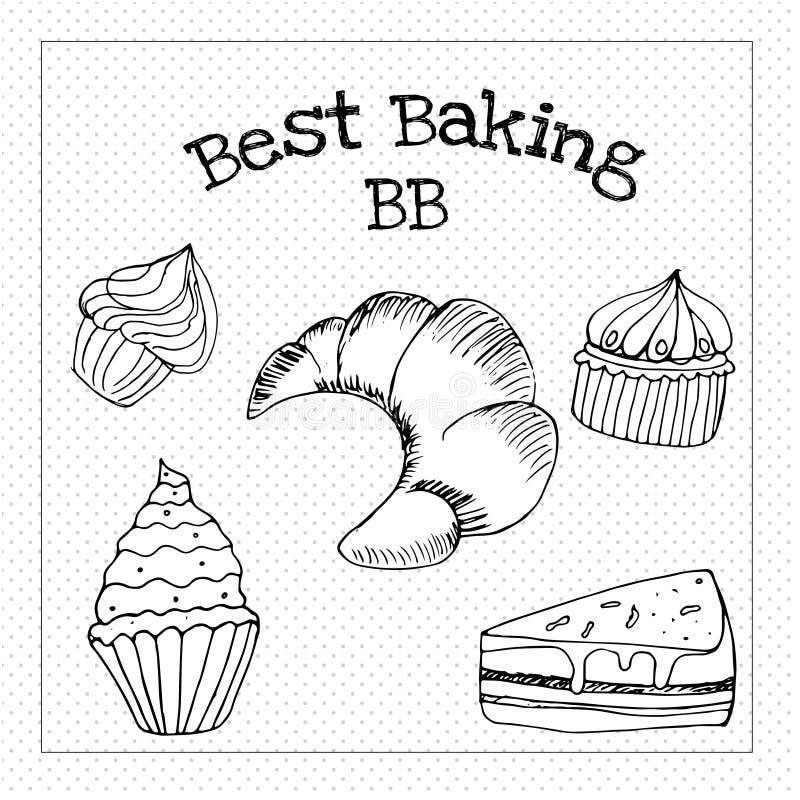 Piec ciasto torty i tradycyjny brean jedzenie ilustracja wektor