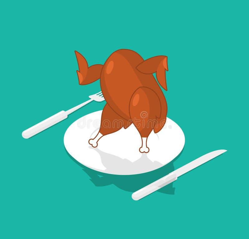 Piec indyczy taniec na talerzu Na naczyniu piec na grillu kurczak chmielu jedzenie royalty ilustracja