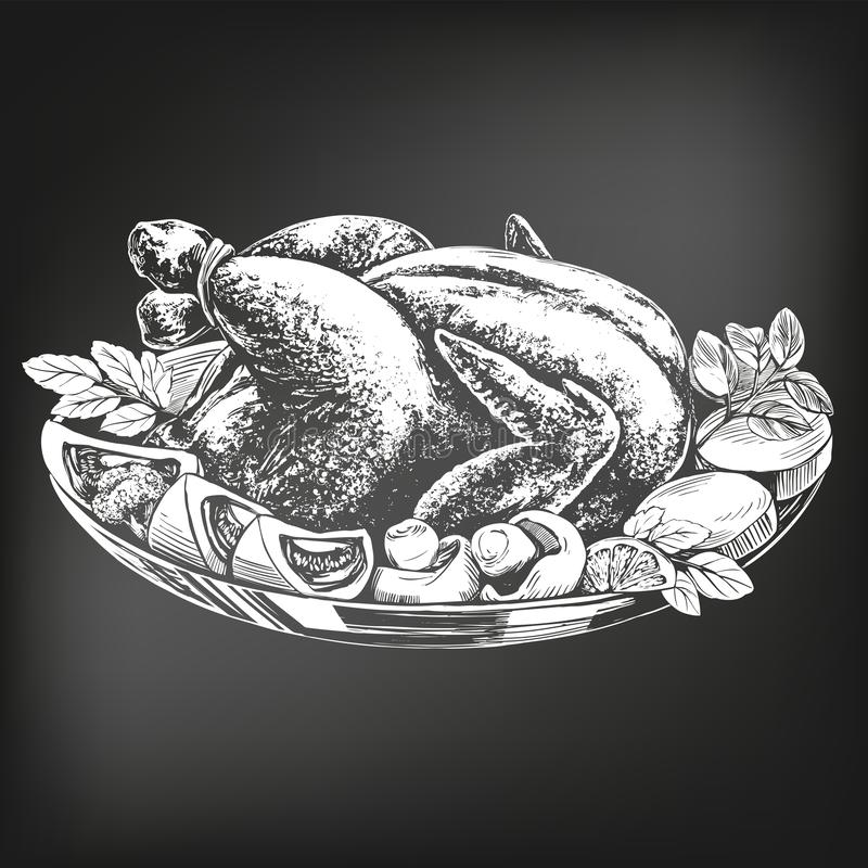 Piec indyk, kurczak, z składnika ręka rysującym wektorowym ilustracyjnym nakreśleniem kredowy menu styl retro ilustracji