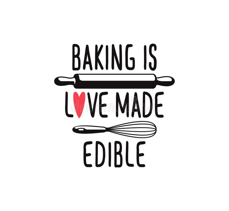piec jest miłością robić jadalnym, zabawy pieczenia ślicznej wycena printable wektorowy projekt royalty ilustracja