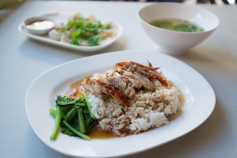 Piec kaczka ryż set fotografia royalty free