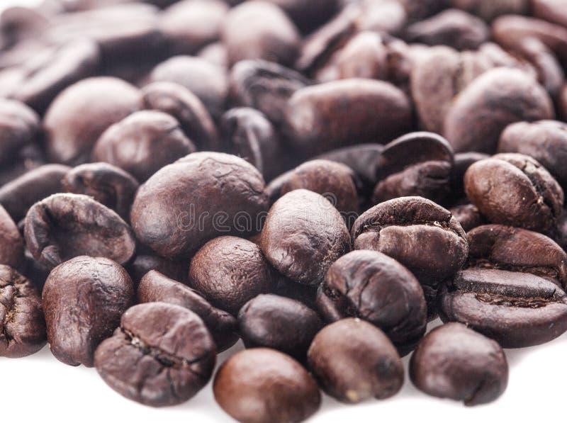 Piec kawowe fasole odizolowywać w białej tło wycinance zdjęcia royalty free