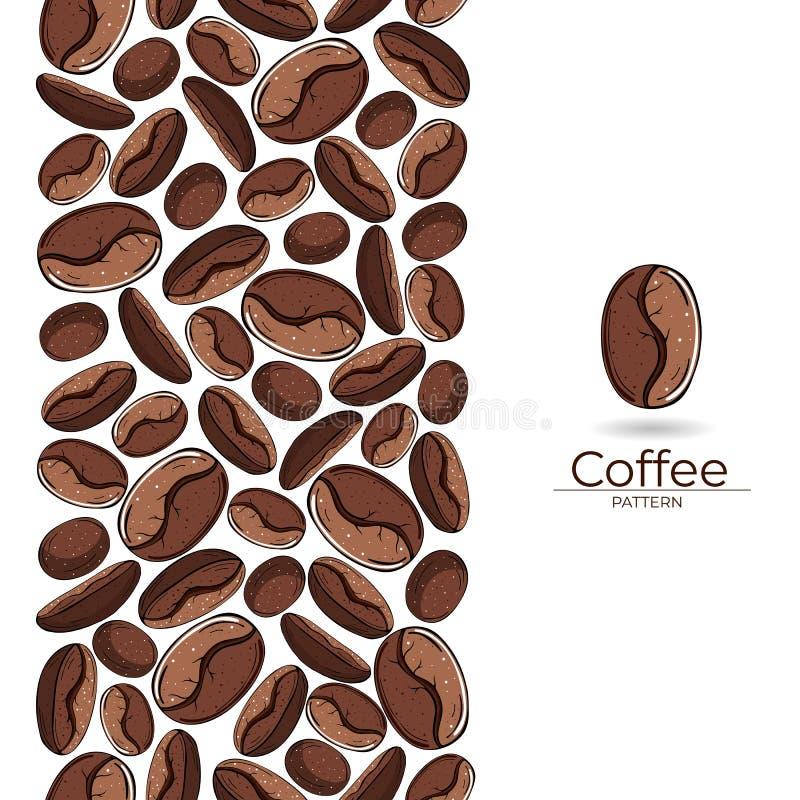 Piec kawowych fasoli bezszwowy wzór na białym tle royalty ilustracja