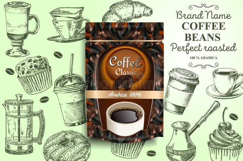 Piec kawowych fasoli reklam wektorowy plakatowy szablon ilustracji
