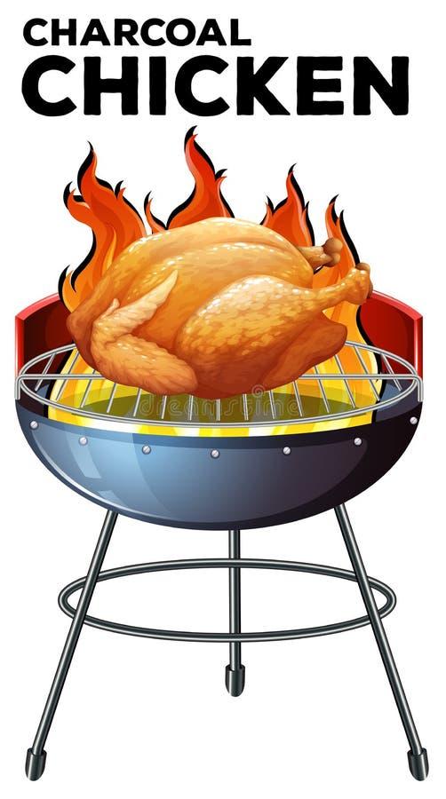 Piec kurczak na grillu ilustracji