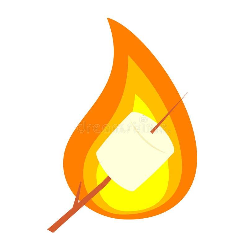 Piec marshmallow na kiju ilustracja wektor
