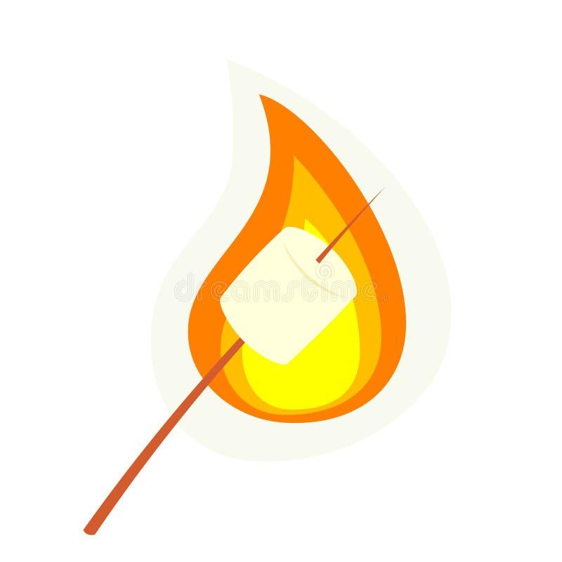 Piec marshmallow na kiju ilustracji