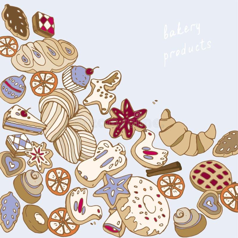 Piec na błękitnej tło wektoru ilustracji bożych narodzeń ciastek wzór bezszwowy ilustracja wektor