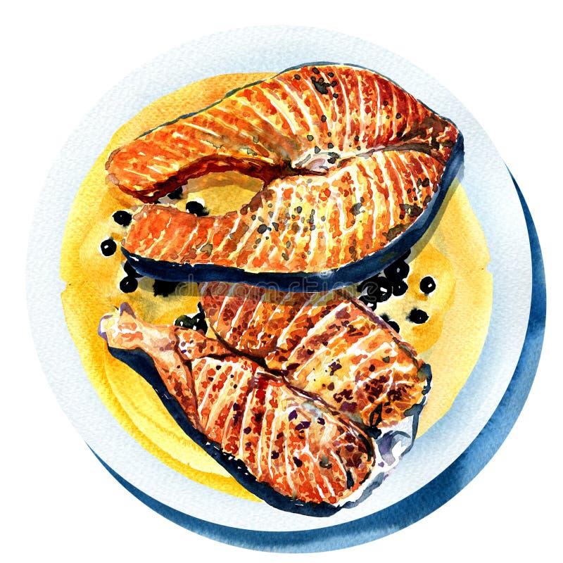 Piec na grillu łosoś z czarnym pieprzem, smażąca ryba dalej royalty ilustracja