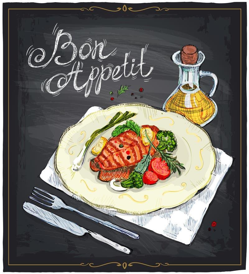 Piec na grillu łososiowy stek na półkowa ręka rysującej ilustraci na chalkboard royalty ilustracja