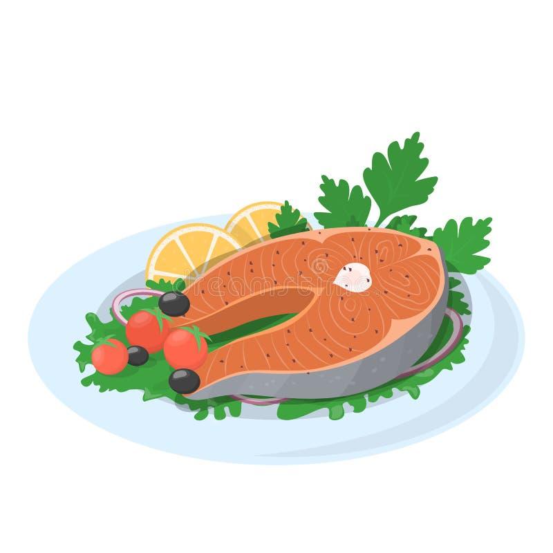 Piec na grillu łososiowy stek na talerzu z cytryną i pomidorem ilustracja wektor