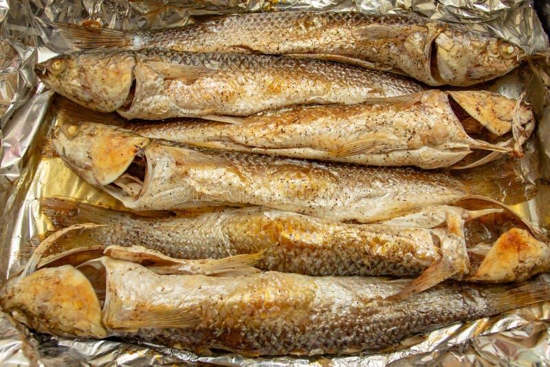 Piec na grillu barweny ryby kucharstwo i posiłek piec na grillu barweny ryby kulinarny posiłek, smakosz fotografia royalty free