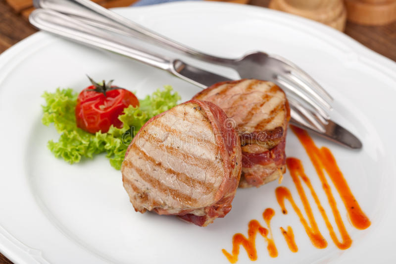 Piec na grillu bbq stek obrazy royalty free