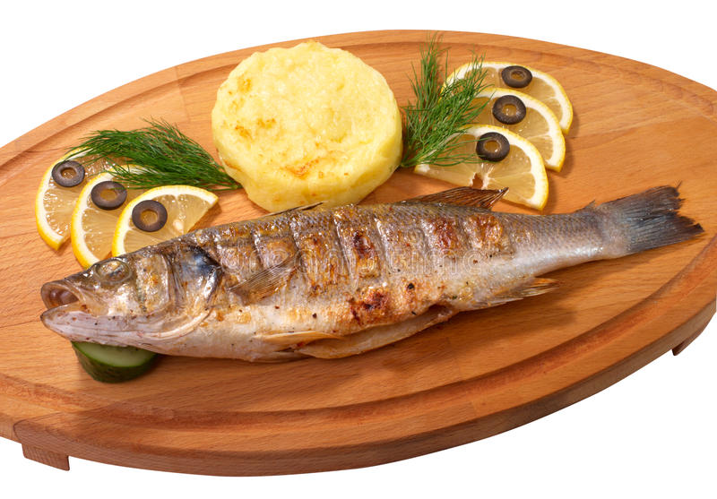 Piec na grillu dennego basu ryba obraz royalty free
