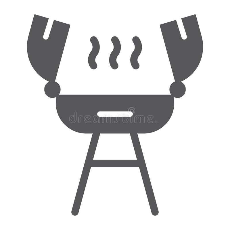 Piec na grillu glif ikonę, ogienia i kucharstwo, grilla znak, wektorowe grafika, bryła wzór na białym tle royalty ilustracja