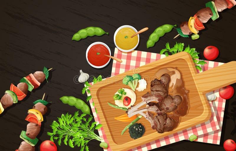 Piec na grillu grill na Drewnianej desce i ilustracji