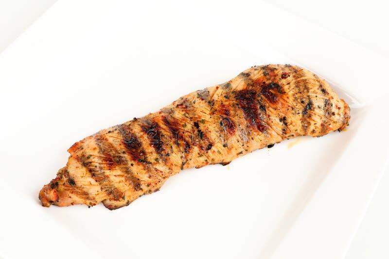 Piec na grillu indyczy stek na talerzu zdjęcia stock