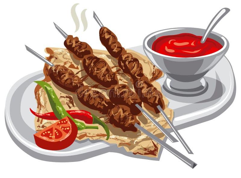 Piec na grillu kebab z pita royalty ilustracja