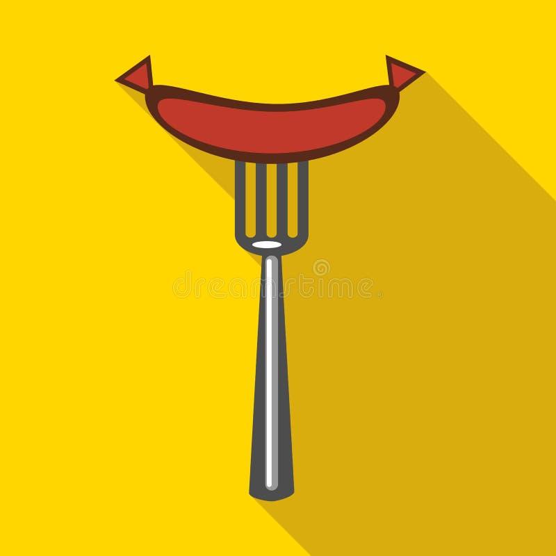 Piec na grillu kiełbasa na rozwidlenie ikonie, mieszkanie styl royalty ilustracja