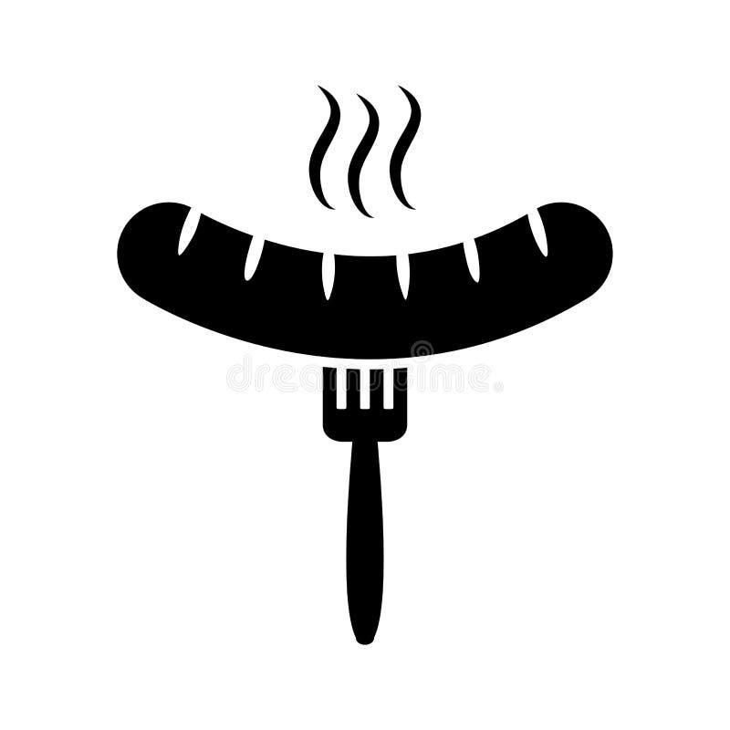 Piec na grillu kiełbasa z rozwidleniem, grill również zwrócić corel ilustracji wektora royalty ilustracja