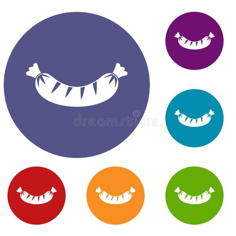 Piec na grillu kiełbasiane ikony ustawiać ilustracji