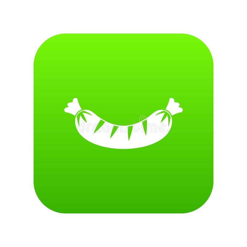 Piec na grillu kiełbasianej ikony cyfrowa zieleń royalty ilustracja